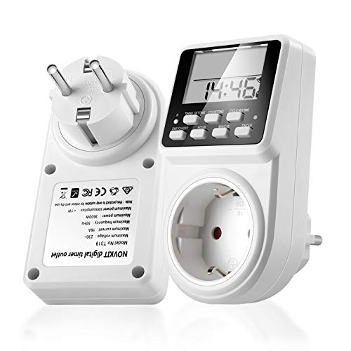 2 x NOVKIT Intervall Digitale Zeitschaltuhr Steckdose mit unendlicher Zyklus(Minimale Einstellunszeit ist 1 Sekunde), 3 Täglichen Programme und Countdown für Innen (230V / 16A /3600W)