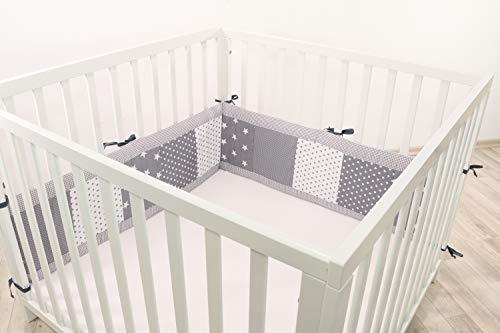 Baby Bettumrandung für Laufstall | Made in EU | ÖkoTex 100 | Schadstoffgeprüft | Antiallergisch | Baby Nestchen | Babynest | Laufstall-Umrandung | Graue Sterne | 200 x 30cm | ULLENBOOM ®