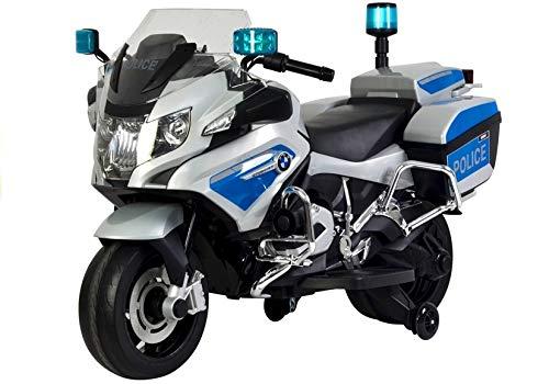 Toy Zone Kinder Elektro Motorrad Polizei Silber Eva Räder Kindermotorrad Kinderfahrzeug