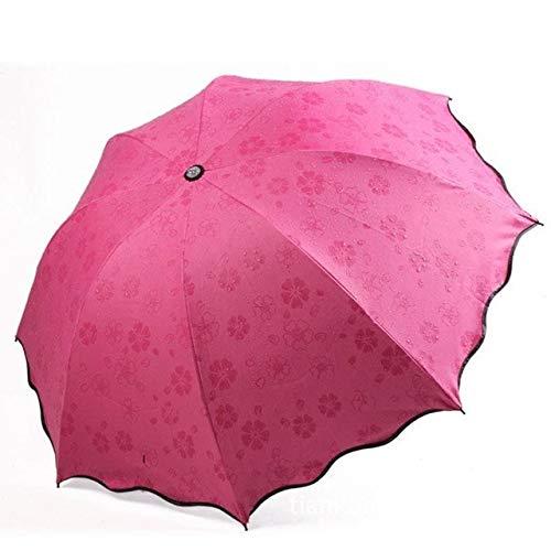 ZGMMM Flores Cúpula Sombrilla Sol/Lluvia Paraguas Plegable Prain Mujeres Paraguas Transparente para...