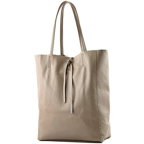 modamoda de - T163 - Ital. Shopper Large mit Innentasche aus Leder, Farbe:Graubeige