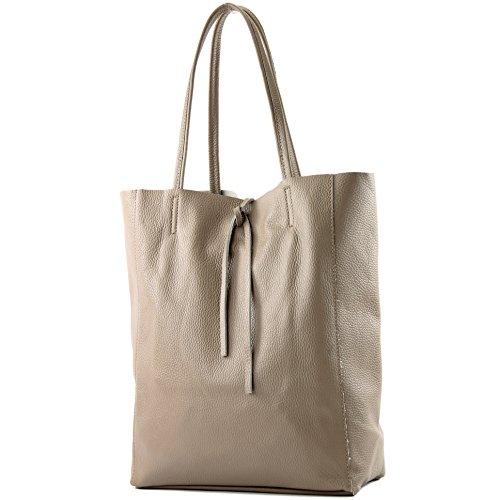 modamoda de - T163 - Ital. Shopper mit Innentasche aus Leder, Farbe:Graubeige