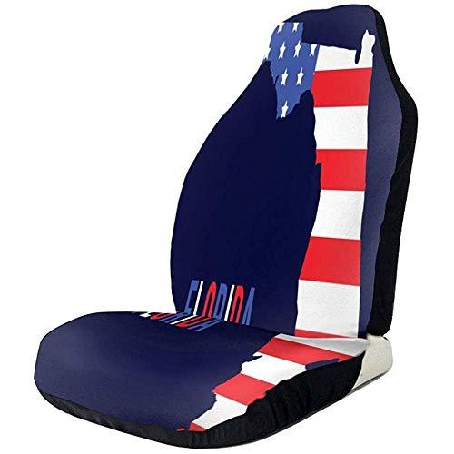 Auto Stoelen Cover Amerika Vlag Op Florida Kaart Seat Protector Voorstoelen Cover