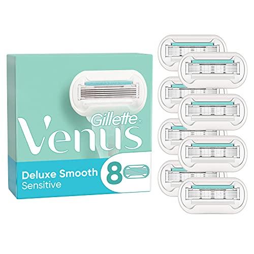 Gillette Venus Deluxe Smooth Sensitive Rasierklingen Damen, 8 Ersatzklingen für Damenrasierer mit 5-fach Klinge