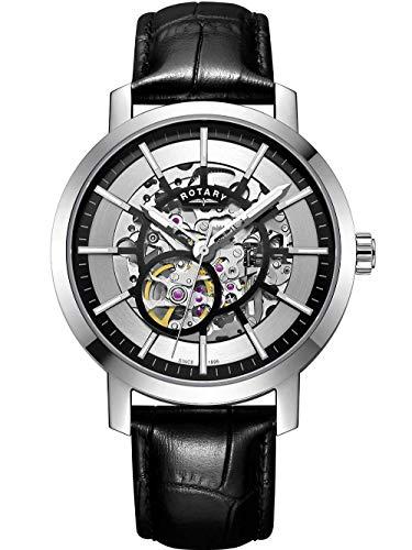 Rotary Reloj Esqueleto Correa de Cuero Negro Greenwich para Hombre GS05350/02