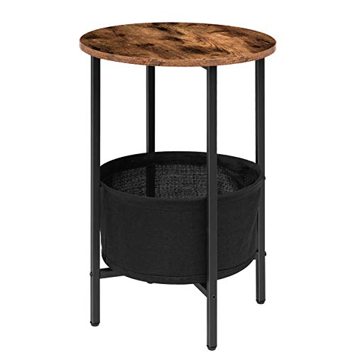 HOOBRO Round Side Table, Sofa End table, Bedside Table with Removable and Washable Storage Basket, Wood Accent table, for Small Spaces, Living Room and Bedroom, Easy Assembly, Rustic Brown EBF63BZ01