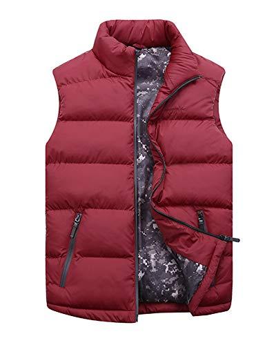 LaoZanA Herren Warme Ärmellose Mantel Daunenjacke Steppweste Winterjacke Daunenweste Übergangsweste Rot 4XL