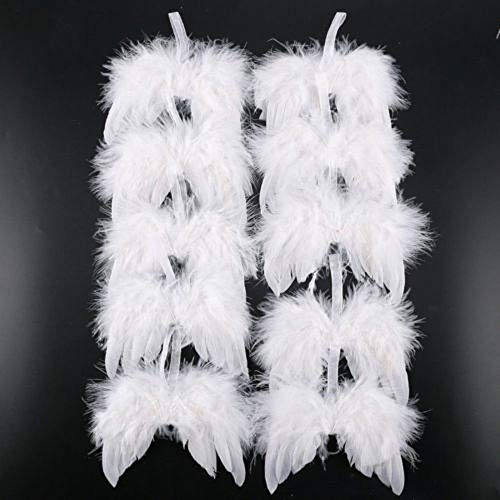 Anaike White Feather Wing Lovely Chic Angel Christmas Tree Decoration Hanging Ornament,Home/Party/Wedding Ornaments Xmas Decor,10Pcs (White, ONE SIZE)