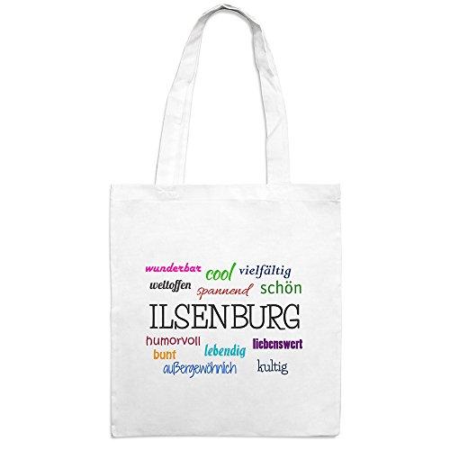 Jutebeutel mit Stadtnamen Ilsenburg - Motiv Positive Eigenschaften - Farbe weiß – Stoffbeutel, Jutesack, Hipster, Beutel