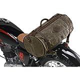 QBag Bolsa trasera para moto, bolsa trasera o equipaje de lona retro II, 31 litros de capacidad, unisex, multiusos, todo el año, piel, verde oliva