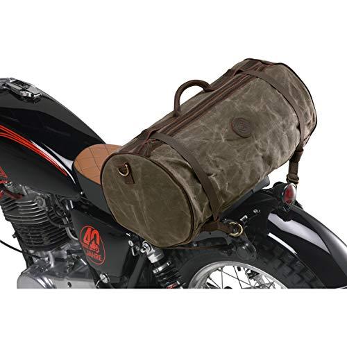 QBag Hecktasche Motorrad Motorradtasche Hecktasche/Gepäckrolle Canvas Retro II 31 Liter Stauraum, Unisex, Multipurpose, Ganzjährig, Leder, Oliv