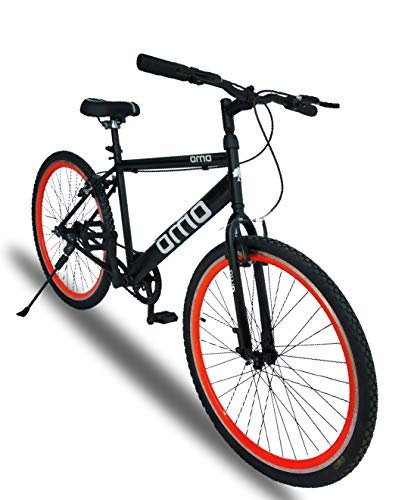 Omobikes Men's Model-1.0 Fast Light Weight Hybrid Mountain Bike Cycle with Alloy Rims, Anti Rust Steel Frame and Tubular Wheels (13kg, Orange Rims)