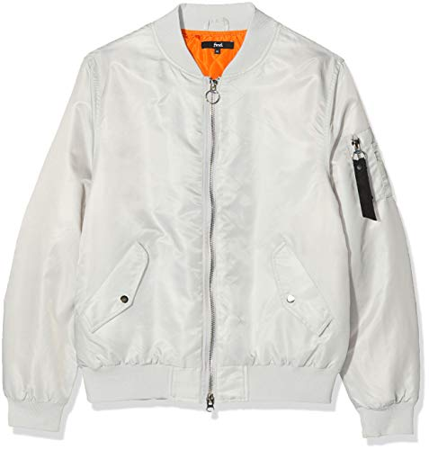 Marchio Amazon - find. Bomber con Cerniera Uomo, Grigio (Light Grey), L, Label: L