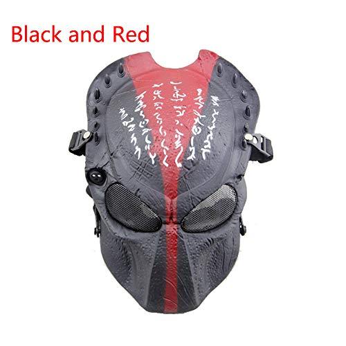 ATAIRSOFT Alien Vs. Predator Schutzmaske Airsoft Halloween Scary Maske Vollgesichtsmaske CS Paintball Maske für Cosplay Masquerade Rot