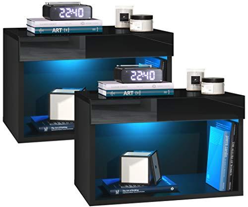 Vladon Nachtkommode Nachtkonsole Pure 2er Set, Korpus in Schwarz matt/Oberböden und Blenden in Schwarz Hochglanz, mit RGB LED Beleuchtung