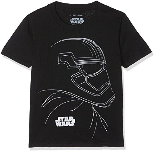 Star Wars Trooper Outline Camiseta, Negro, 7-8 Años para Niños