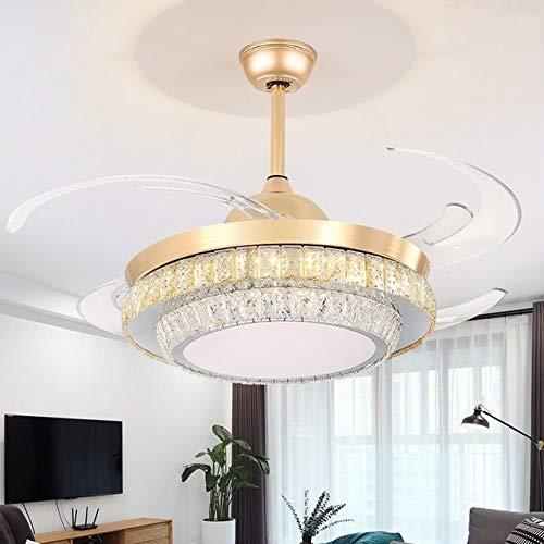 OUPPENG Lámpara de Ventilador Cristal de ventilador de techo de 42 pulgadas con luces Control remoto DC Frecuencia Ventilador Lámpara Reversible Inicio Finxture Silent Motor Cieling