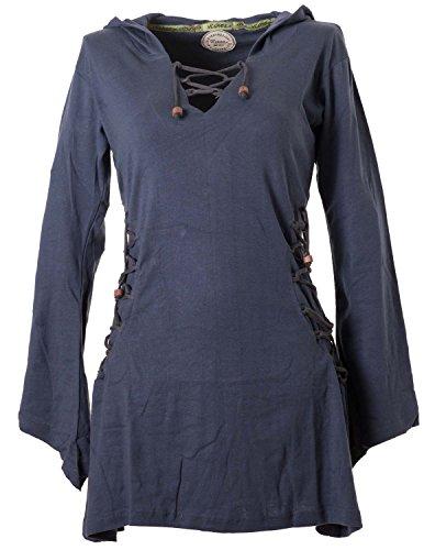 Vishes - Alternative Bekleidung - Elfenkleid mit Zipfelkapuze und Bändern zum Schnüren grau 36-38 (XS)