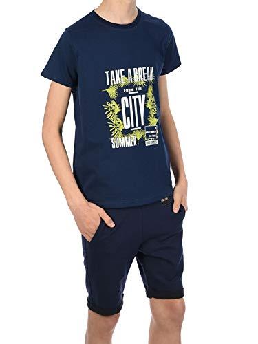 BEZLIT Jungen Sommer Set T-Shirt Capri Shorts Kurze Hose Take a Break Stoff Shorts 30089 Navy/Navy 116/122