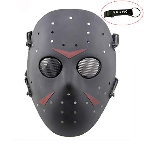 haoYK - Maschera di Jason Metal, maschera integrale a rete, protettiva, ideale per Halloween/feste in costume/cosplay/battaglie simulate, nero