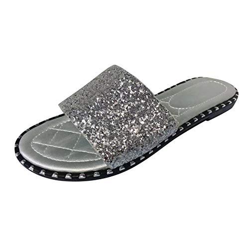 Xmiral Hausschuhe Damen Pailletten Schuhe Flacher Weicher Boden rutschfeste Im Innen Und Außenbereich(38,Silber)