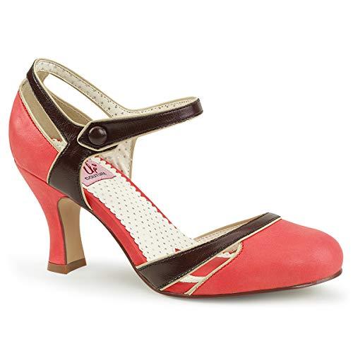 Pin Up Couture Damen FLAPPER-27 Pumps Lederimitat Lachsfarben 39 EU