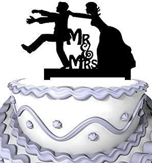 Meijiafei Wedding Cake Topper - Funny, Groom escaping, bride catching groom Wedding Topper