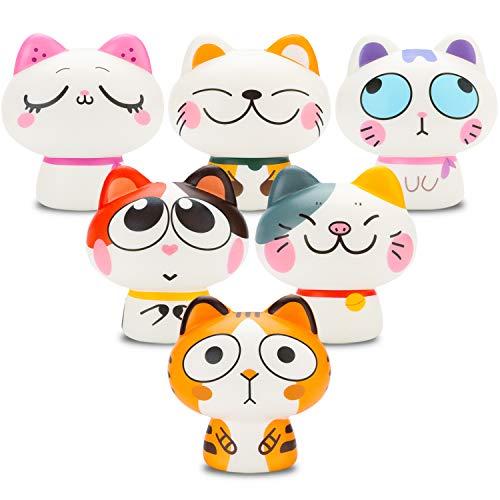 BeYumi Slow Rising Toy, Random 6 PCS Kawaii Plutus Cats Squishy Toy, Cream Scented Simulation Cute Animals Toys for Collection Gift, Decorative Props Large or Stress Relief