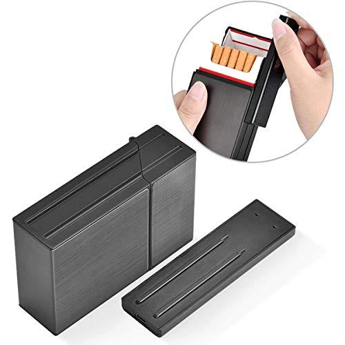 Queta Aluminium Zigarettenetui, 2-in-1 Aluminium Zigarettenetui mit Feuerzeug Elektronisch, Elegante Entwurf Aluminium Zigarettenbox mit Elektronisches Feuerzeug Aufladbar