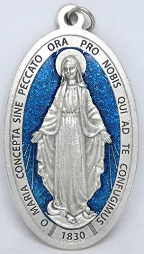 GTBITALY 60.836.31 milagrosa medalla Virgen María Milagrosa + Logo oración en latín plata medida 9 cm con purpurina esmaltada a mano