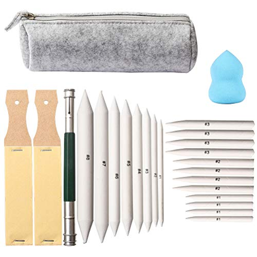 kuou 24 Pack Art Blenders Set, 20 Pcs Blending Stumps and Tortillions Set with Sandpaper Pencil Sharpeners, Pencil Extension Tool, Sponge WIP Package in Felt Bag for Sketch Drawing