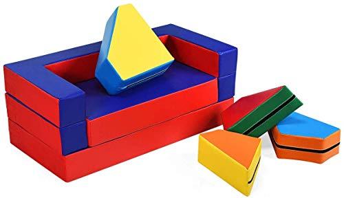 DREAMADE Multifunktional Spielsofa, 4 in 1 Kindersofa Kindermatraze Kinder Sitzgruppe mit flexibler Kombination, Kindermöbel Spielmatraze, Puzzle Sofa Kindercouch, Spielpolster aus PVC sowie EPE