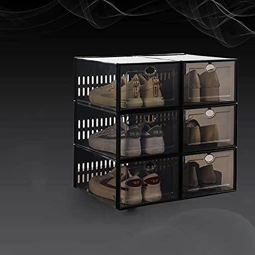 YQCX 6 Cajas de Alenamiento de Zapatos Apilables, Caja de Zapatos Plegable Plegable Plástica para Armarios, Estante de Zapatos de Entrada, Dormitorio, Sala de Estar, a 33.7X23.3X15.