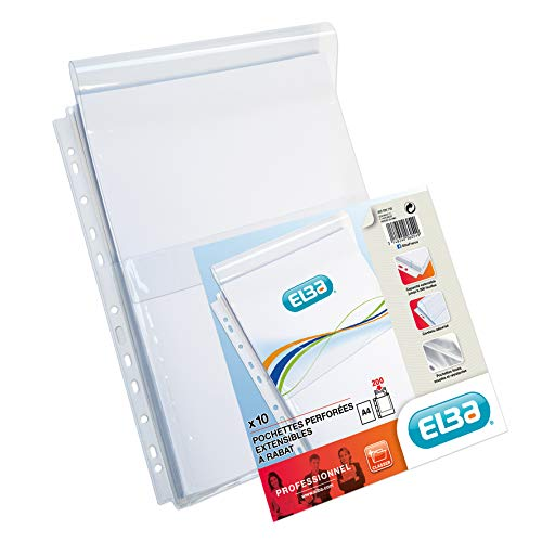 Elba 208708 - Funda perforada para archivador (con capacidad extra, polipropileno, A4), transparente