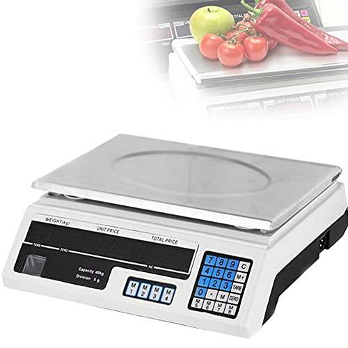 DDCHH Básculas Electronica Digital, Bascula Cocina Comercial, Balanza Pesa Digital Electronica para Comercio, Utilizado en el Pesaje a Granel de Supermercados,White