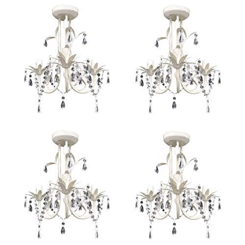 vidaXL 4x Kroonluchter Kristal Elegant Wit Hanglamp Pendellamp Verlichting