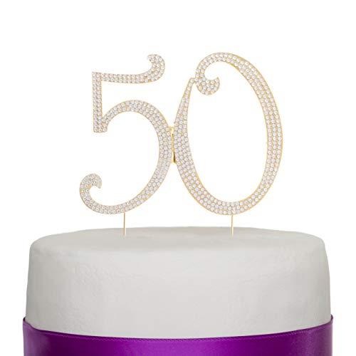 Decorazione per torta in strass per 50° compleanno o anniversario Gold