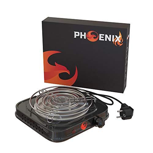 Phoenix - Hornillo Cachimba Electrico Shisha con Rejilla Hornillo Cachimba para Carbones Barbacoa - Cocina Electrica Portatil para Camping o Encendedor Carbones Hookah (Negro)