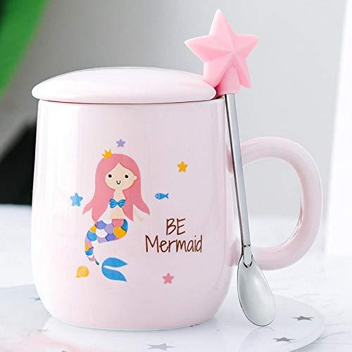 TOORY mural Becher Paar Wasser Tasse Kaffeetasse Milch Tasse Meerjungfrau Keramikbecher Rosa Mädchen Herz Student Paar Tasse Mit Deckel Löffel-Rosa_Meerjungfrau Wasserglas