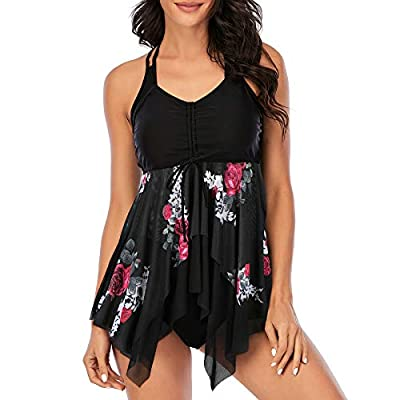 Zando Women's Bathing Suits 2 Piece Swimsuits Modest Tankini Top with Bikini Bottom Swimsuit Tummy Control Swimwear Flowy Swimdress Halter Bathing Suit Two Piece Swimming Suit Floral Black 12-14