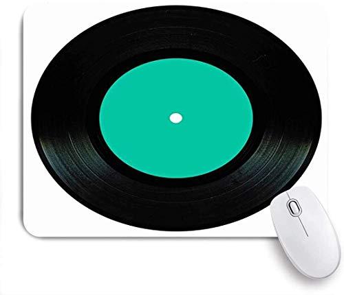 Mobeiti Gaming-Mauspad, Vintage schwarze Vinyl-Melodie Retro-Platte isoliert Plattenspieler auf Spur weiß Rock Objekte Spin LP rutschfeste Gummi Backing Mousepad für Notebooks Computer Mausmatten