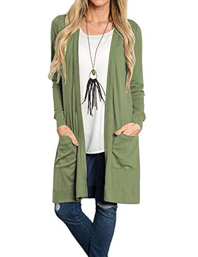 ATOUR Damen Pullover Langarm offen vorne locker lässig lässig leicht Kimono Cardigan - Grün - X-Groß