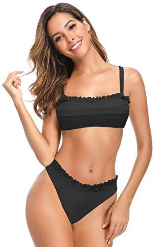 SHEKINI Bandeau Bikini Mare da Donna Brasiliana Costumi Donna Due Pezzi Bikini da Spiaggia con Volant Imbottito Top Bikini (Nero, M)