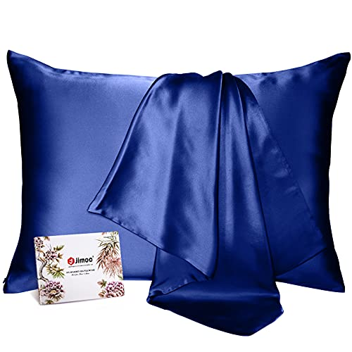 100% Mulberry Silk Pillowcase for Hair and Skin, Both Sides 19 Momme Pure Natural Silk Pillowcases Soft Breathable Standard 20''×26'', Navy Blue 1 Pack