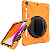 iPad Case 10.2/iPad 8th 7th Generation Cases with Pen Holder, TSQ Heavy Duty Shockproof Rugged Protective Case with 360 Degree Rotating Stand/Hand Strap+Shoulder Strap for Students Teachers, Orange