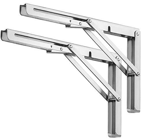 20 inch Folding Shelf Brackets, Heavy Duty Stainless Steel Collapsible Shelf Bracket, DIY Triangle Folding Shelf Bracket Wall Mounted for Table Work Bench Space Saving, 2 Pack