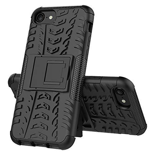 Ausgestattet Hüllen for iPhone SE 2020 Reifen Textur Stoß- TPU + PC-Schutzhülle mit Halter (rot) Asun (Color : Black)