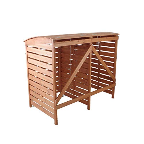 Mülltonnenverkleidung Holz Mülltonnenbox für 2 Mülltonnen 240l Müllcontainer - 3