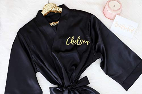 Joyma Belle Women's Silky Short Satin Kimono Personalized Robes with Gold or silver letters Black Kimono Robe for bridesmaides and bridal party