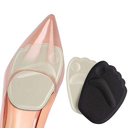 Demi semelle silicone avant pied, semelle auto adhesive chaussures, 2 paires semelle chaussure trop grande, antidérapant coussinet plantaire avant pied